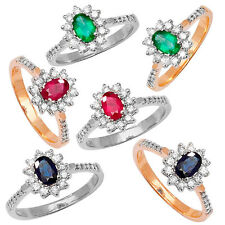 Emerald, Ruby or Sapphire & Diamond Ring Cluster 9ct Yellow or White Gold