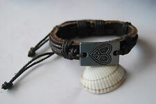 Brown leather adjustable bracelet for women with heart peace sign motif