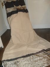 EXTRA LONG LINEN CURTAINS QUALITY VELVET RUFFLE BORDER CREAM & BRONZE SHADES