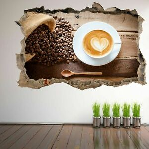 Coffee Cup Beans Wall Art Sticker Mural Decal Poster Kitchen Home Shop Decor HB3