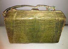 Vintage Old Handbag/Purse Genuine Leather Reptile Embossed Escort Bag Label Gree