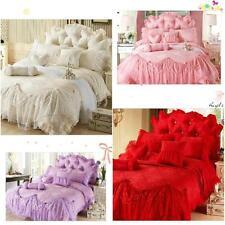 6pc. Queen Size Jacquard Lace Ruffles Cotton Princess Duvet Cover Bedding Setg