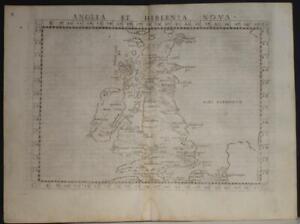 UNITED KINGDOM & IRELAND 1564 PTOLEMY & RUSCELLI UNUSUAL ANTIQUE ORIGINAL MAP