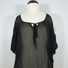 AMERICAN DREAM Women's Black Sheer Blouse with Crochet Cold Shoulder size L