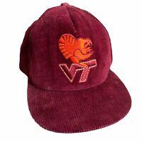 Vtg AJD Virginia Tech Fighting Gobblers Hokies Corduroy Snapback Cap USA Rare