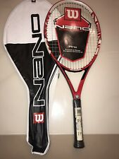 Wilson Nano Carbon Pro Tennis Racquet 110 sqin 4 3/8 Red Black White With Bag