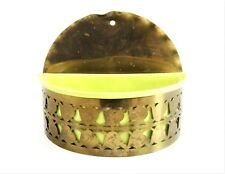 Vintage Wall Pocket Planter CHARTREUSE and BRASS