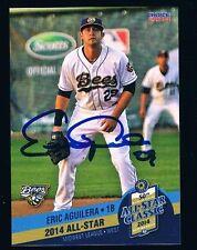 Eric Aguilera Burlington Bees 2014 Midwest League all star autographed card