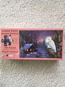 SunsOut Terry Doughty Night Watch 30 Lrg Pc Jigsaw Puzzle Log Cabin Winter NIB