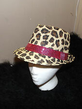 new brown tan leopard spot kids Fedora hat osfm pink sequined band cool kids