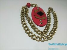 VIntage Estate Retro 80s Plastic Red Black Pendant Gold Tone Chain Necklace
