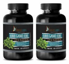 Oregano Oil Extract 1500mg - Wild Mediterranean - Digestive - 2 Bot 120 Capsules