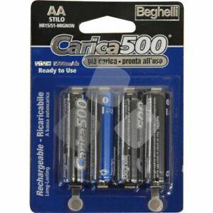 batterie CARICA 500 BEGHELLI PILE RICARICABILI STILO AA 1200 MAH blister 4pz