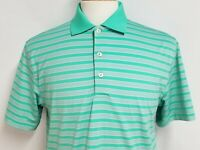 Peter Millar Mens sz S Green Pink Striped Summer Comfort Polyester Golf Shirt