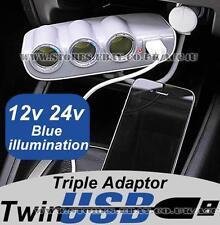 12v 24v 3 Way Car Lorry Cigarette Lighter Multi Socket USB Charger Adaptor PLC37