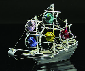 SWAROVSKI MULTICOLOR CRYSTAL ELEMENTS STUDDED MAYFLOWER FIGURINE SILVER PLATED