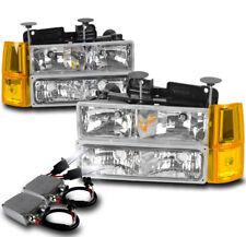 94-98 GMC C/K 1500 SUBURBAN HEADLIGHTS LAMP W/BUMPER+CORNER+50W 8K HID KIT CLEAR