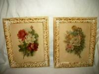 VINTAGE ROSES PRINTS ORNATE FRENCH FRAMES STUNNING OLD PRINTS EARLY MID CENTURY