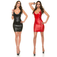 Mini Dress Leather Look With Full Front Zips Wetlook KouCla - Black Red