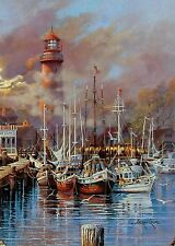 """Andres Orpinas,""""Misty Pointe"""", Harbor and lighthouse with boats, nostalic image"""