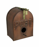 Copper Finish Metal Mailbox Wall Mounted Birdhouse