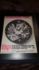 Styx Borrowed Time Rare Original Promo Poster Ad Framed!