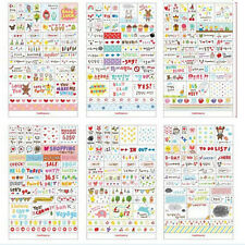 6 Sheets Paper Stickers for Diary  Scrapbook Book Wall Decor Skin DIY