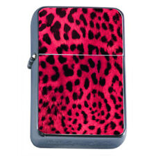 Wild Animal Prints D4 Flip Top Dual Torch Lighter Wind Resistant Pink Leopard