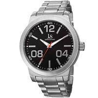 New Men's Joshua & Sons JS82SSB Large Arabic Numerals Silver-tone Bracelet Watch