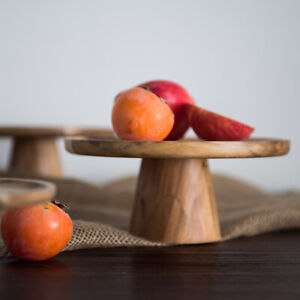 Photography Props Solid Wood Tray High Foot Cake Fruit Snack Food Decor Plate
