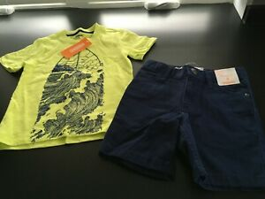NEW Gymboree 4T Navy Blue Straight Shorts + Yellow Embroidered Surfboard T-Shirt