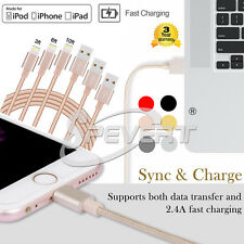 1/2/3 m USB Cargador Carga Datos Trenzado Sync Cable para iphone 6 6S 7 8 Plus