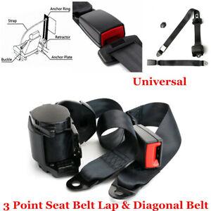 Black Car Seat Belt Universal Accessories 3 Point Retractable & Adjustable Kit