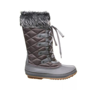 Bearpaw McKinley Insulated Tall Boots, Sheepskin Footbed, Waterproof, Gray, 8 M
