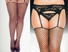 Queen Garterbelt +Thong + Fishnet Stockings Blk 1-3Pc Discount MU 7707 Plus 4936