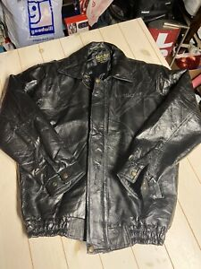 Men's Vintage Black Leather Caesars Palace Las Vegas jacket coat 2XL