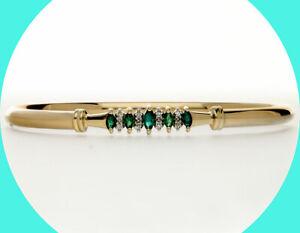 .40CT diamond emerald bangle bracelet 14K YG marquise birthstone