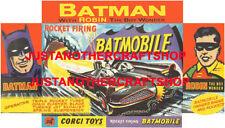 Corgi Toys 267 Batman Batmobile Small Size Poster Advert Leaflet Shop Sign 1966