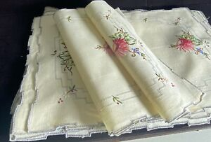 12 Vintage Hand Embroidered Linen Placemats  WW24