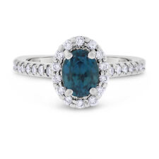 2.55 Ct Natural Diamond & Blue Zircon Halo Fashion Ring in Solid 14k White Gold