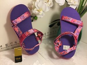 "Girl's TEVA Floral Pattern ""Hi-Rise Universal"" Sandals Pink sz 6 new #n72"