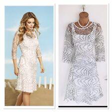 Beautiful FRANK LYMAN Off White & Grey Lace Floaty Dress Uk 10/ New/ RRP £210