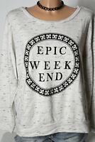 H&M Shirt Gr. L creme-weiß-schwarz meliert Baumwolle Ethno Sweatshirt/Shirt