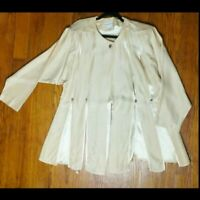 Design Todays Medium Cream Panel Jacket Top Art To Wear W Shoulder Pads Church