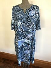 Millers 16 blue black floral paisley pattern stretchy mid sleeve shift dress
