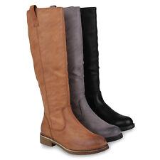 Klassische Stiefel Damen Schuhe Boots Profilsohle Winterstiefel 895881 Schuhe