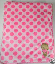 Carters Pink Polka Dots Monkey Heart Sherpa Baby Blanket
