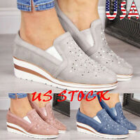 Women's Wedges Heels Loafers Ladies Rhinestone Casual Shoes Fashion Slip On 6-10