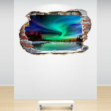 Northern Lights Smashed Wall Sticker 3D Decal Scene Bedroom Decor Mural