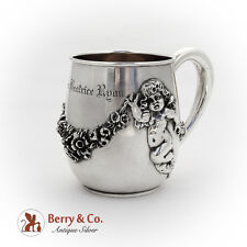Floral Swag Applied Cupids Childs Cup William Kerr Sterling Silver 1905